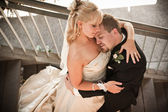 Groom resting head against the Bride — Stock Photo