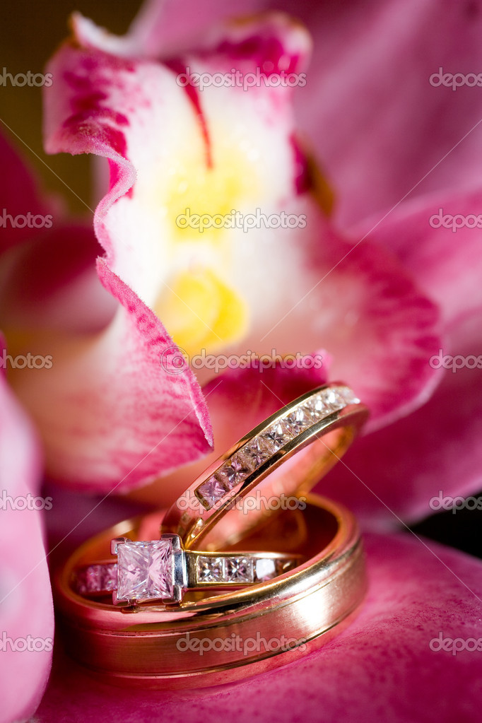 Wedding rings sitting on a beautiful pink flower, with yellow and white center — Stock Photo #8830215