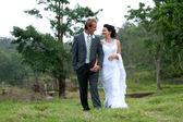 Novia y el novio caminando mano a mano en entorno rural — Foto de Stock