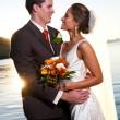 Groom holding bride at sunset with sunburst — Stock Photo #8964399