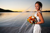Beautiful bride with veil extended at sunset — Stock Photo