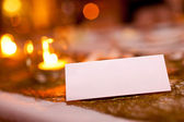 Blank place card at a wedding — Stock Photo