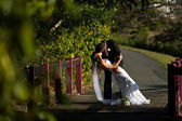 Groom holding wife and kissing on a bridge — Stock Photo