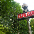 Paris Metro sign in a park setting — Stock Photo