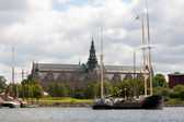 Nordic museum in Stockholm viewed from the water — Stock Photo