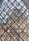 Interesting detail of Louvre Museum Pyramid — Stock Photo