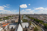 View of Steeple of Notre Dame looking over Paris — Stock Photo
