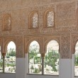 Intricate window details inside the Alhambra palace — Stock Photo