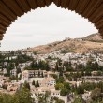 View of Granada through a moorish window of the Alhambra — Stock Photo #9235001