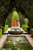 A fountain in the Generalife gardens of the Alhambra palace — Stock Photo