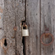 Old wooden planks door locked — Stock Photo