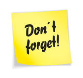 "Yellow sticky note ""don´t forget"" — Stock Photo"