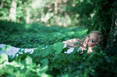 Fairy bride in the woods — Stock Photo