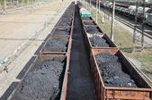Railway. The cars of coal. — Stockfoto