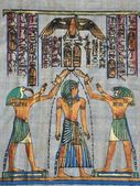 Papyrus with elements of egyptian ancient history — Stock Photo