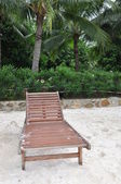 Chaise lounge on beach. — Stock Photo