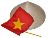 Vietnamese hat and flag. — Stock Photo