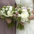 Bride and bridesmaid with flowers — Stock Photo #10559887