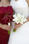 Bride and bridesmaid with flowers — Stock Photo