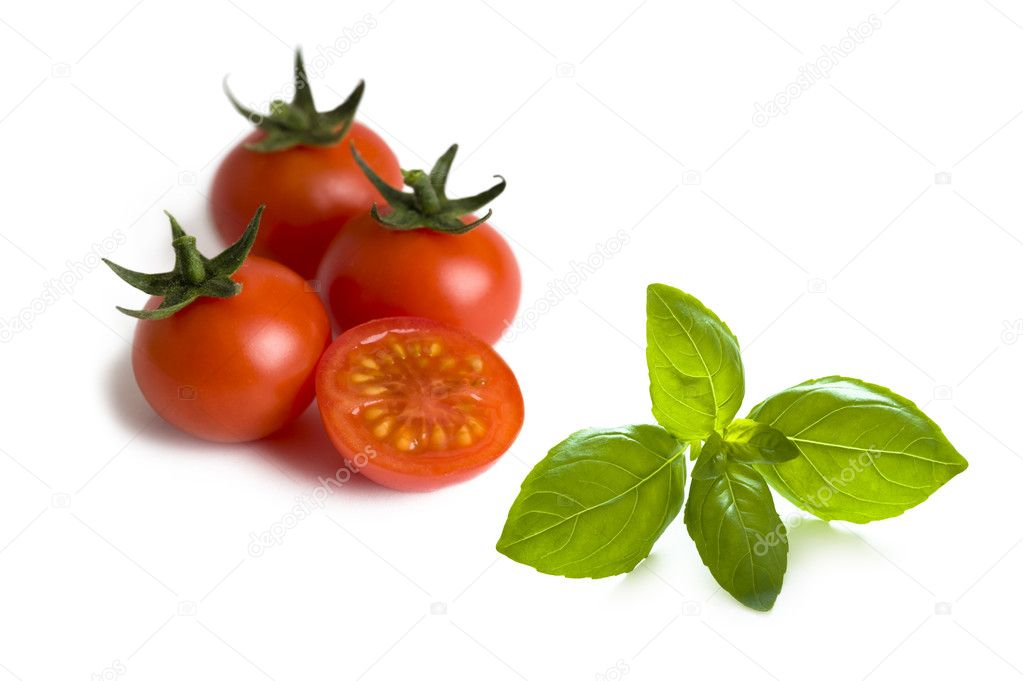 Cherry tomatoes and basil leaves isolated  Stock Photo #9790510
