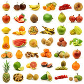 Collection of fresh and colorful fruits and nuts — Stock Photo