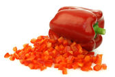 Fresh red bellpepper with cut pieces — Stock Photo