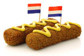 "Two Dutch snacks called ""kroket"" with mustard — Stock Photo"