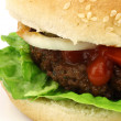 Fresh homemade hamburger with lettuce, tomatoes, onions and sauce — Photo