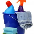 Blue plastic household bucket with two cleaning bottles — Stock Photo #8919241
