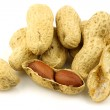 A bunch of fresh roasted peanuts and a peeled one — Stock Photo #8920419