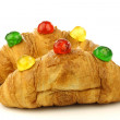 Stock Photo: Freshly baked croissants bread with colorful conserved fruits