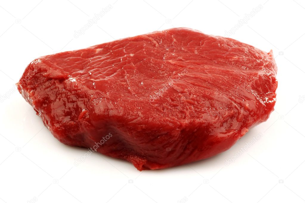 Fresh red beefsteak on a white background    #9087313