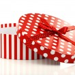 Round red and white gift box — Stock Photo