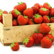 Stock Photo: Fresh strawberries in wooden box