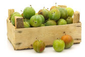 "Fresh ""Reine Claude"" plums in a wooden crate — Stock Photo"