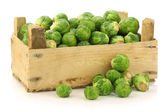 Freshly harvested brussel sprouts in a wooden crate — Stock Photo