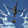 Apache AH-64D Solo Display Team shoots flares — Stock Photo