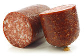 "Pieces of traditional dutch sausage called ""boerenmetworst"" — Stock Photo"