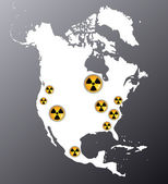 North America with the signs of radiation — Stock Vector