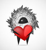 Fluffy with a heart — Vector de stock