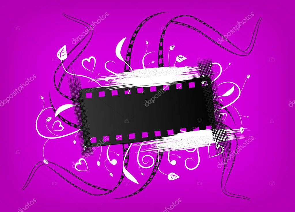 Banner of a film with an ornament on a violet background — Stock Vector #8823743