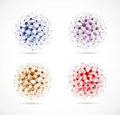 Cuatro esferas moleculares — Vector de stock