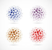 Four molecular spheres — Vector de stock
