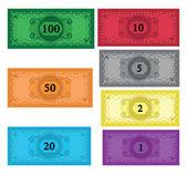 Cartoon set of money — Stock Vector