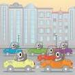 Traffic jam in the city (horizontal seamless image) — Stock Vector