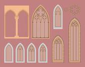Gotiska fönster i centraleuropa — Stockvektor