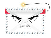 Dangerous terroristic envelope with dynamite — Stock Vector