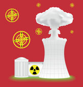 Nuclear plant with mushroom cloud — Stock Vector