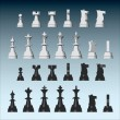 Vector chess pieces from different views — Stock Vector