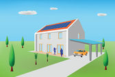Passive house with photovoltaic panels — Stock Vector